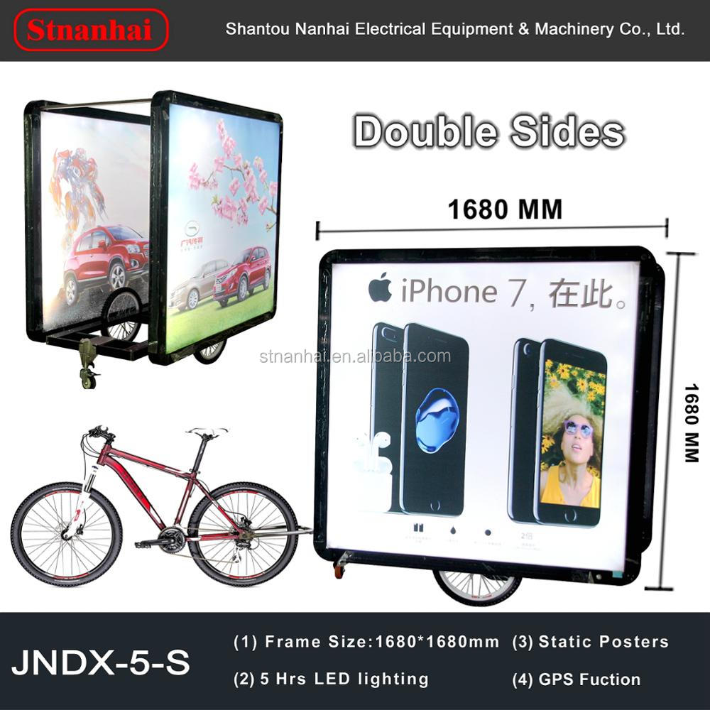 J5-0001 New products hot sell Outdoor acrylic projecting light box sign, LED illuminated backlighting bike advertising trailer