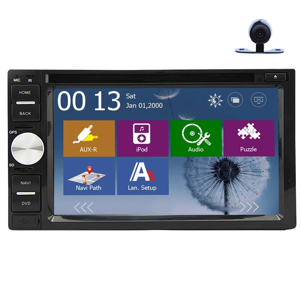Christmas Sale!!! Subwoofer Free Rear Camera Double 2 DIN 6.2 inch Car DVD Player GPS Motors Stereo In Dash Navigation Receiver with vw 800*480 HD Digital Touch Screen Double 2 DIN support GPS