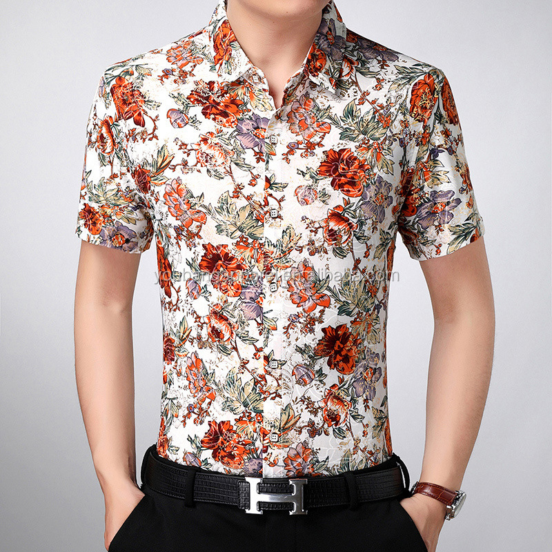 2019 new arrival western style cheap hot custom fit flower print polyester man  shirt
