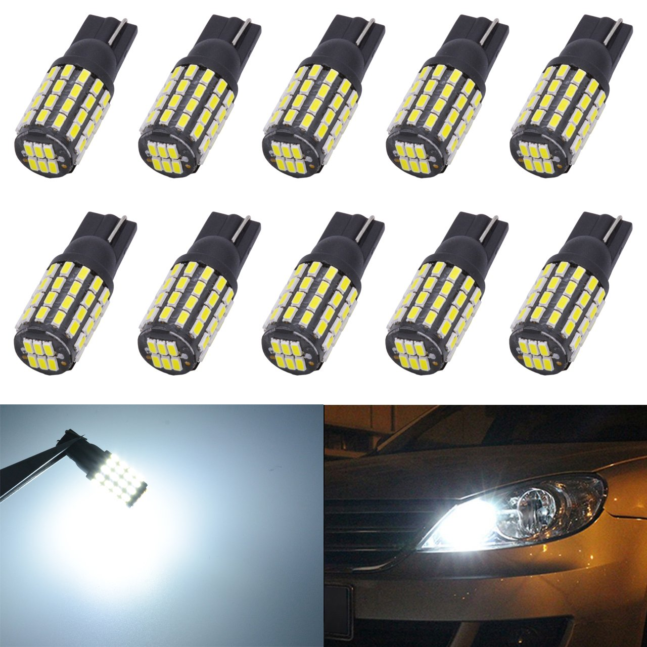 KaTur 10pcs Extremely Bright 800 Lumens High Power T10 168 175 194 2825 W5W 3014 Chipsets 54SMD LED Bulbs Front Rear Sidemarker Light Bulbs License Plate Parking Tail Back Up Light 12V-24V Xenon White