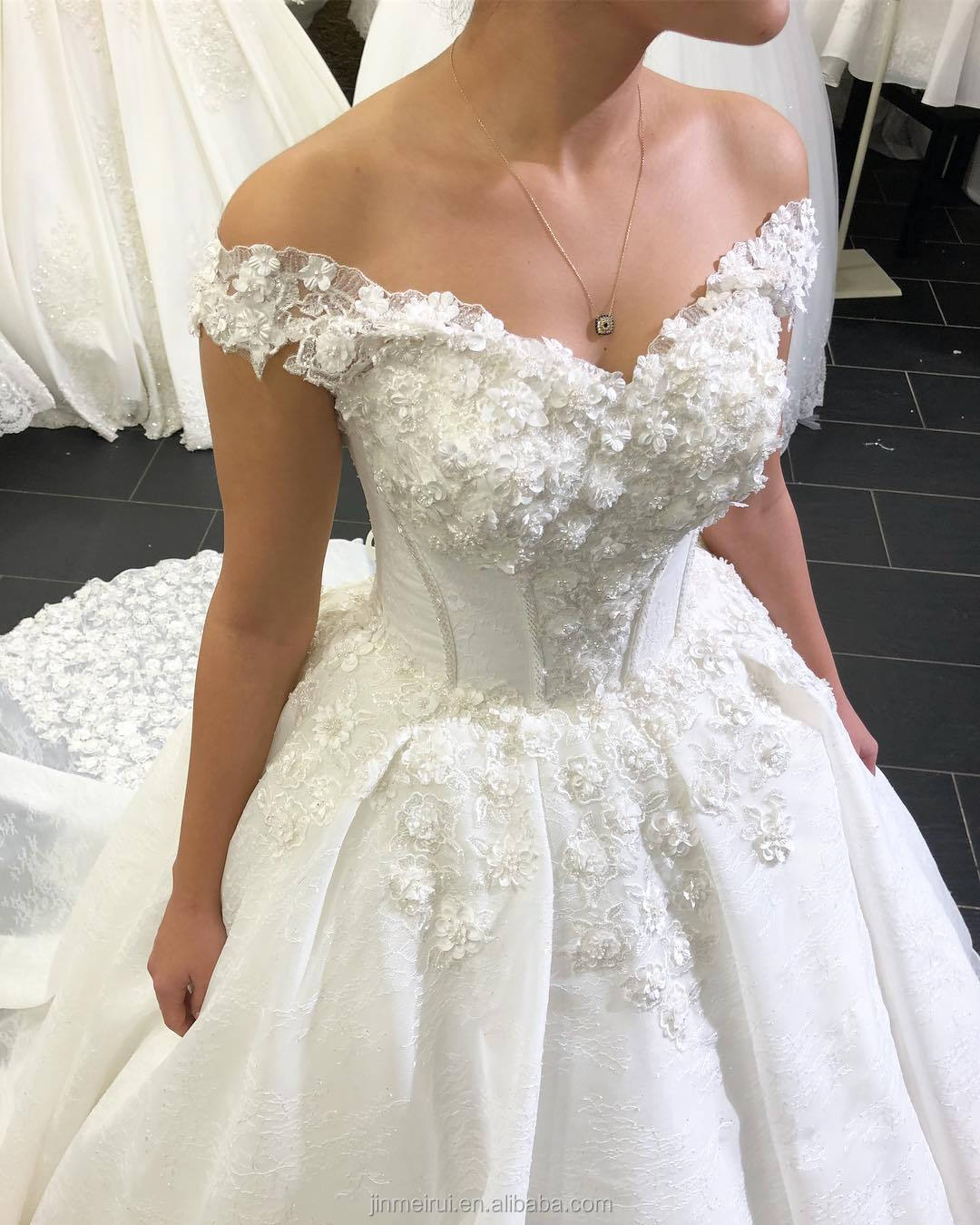 Luxury Lifestyle Cinderella Wedding Gown  Sweetheart Couture Bodice 2 Lace with 3D Flowers Ball Gown Wedding Dresses Vestidos De