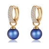 Crystals from Swarovski+jewelry xuping luxury alloy crystal fashion gold plated 925 sterling silver color dangle pearl earring