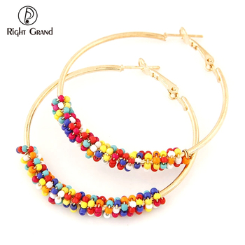 Simple Rose Gold Large Circle Earring Designs Multi Color Seed Bead Hoop Earrings For Women Jewelry