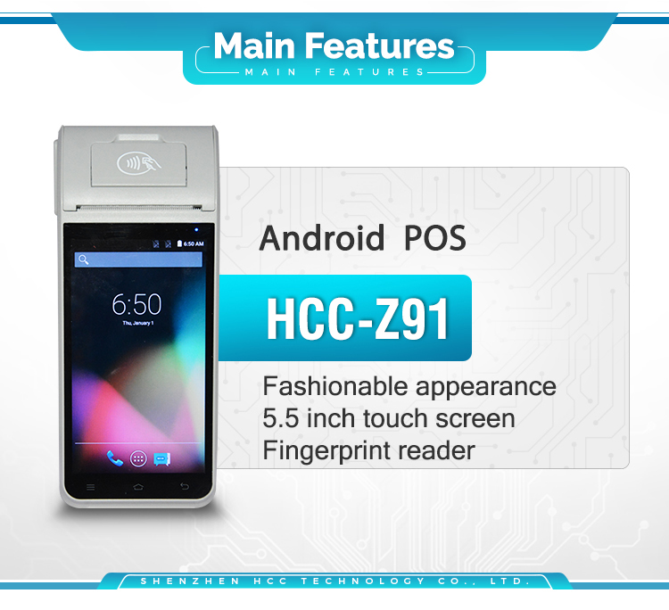 5.5inch Touch Screen Smart NFC Handheld Smart Android POS With 58mm Printer HCC-Z91