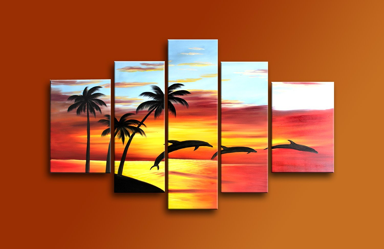 Ode-Rin Art Christmas Gift Christmas Gift Hand Painted Ode-Rin Art Christmas Gift Mordern Oil Paintings Jumping Dolphins In Beach Sunset Landscape 5 Panels Wood Inside Framed Hanging For Wall Art