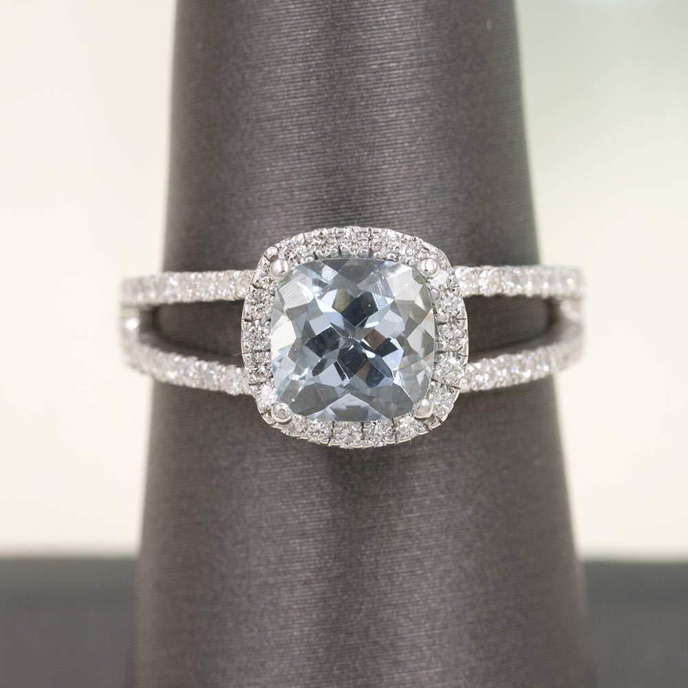 7mm Natural Cushion Aquamarine Bridal Ring/Aquamarine Engagement Ring/0.42 Ct. High Quality Diamonds/Aquamarine Diamond Engagement Ring/Wedding Ring for Women