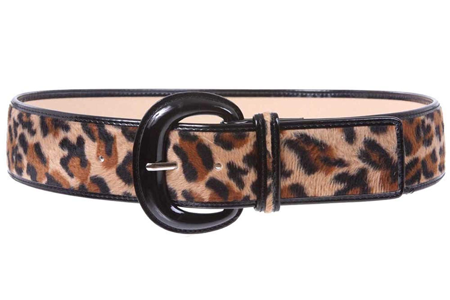 MONIQUE Women Square Buckle Non Leather Fabric Braided Woven 58mm Wide Belt