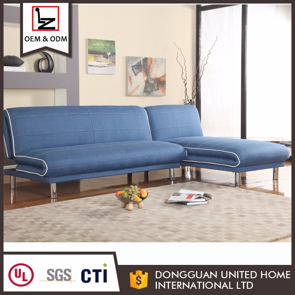 Two in one cum bed designs blue fold soft backrest furniture sofa