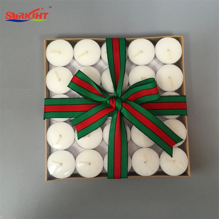 Christmas Traditional Ribbon Bow Gift Pack Tea Light Alum Cup Candle