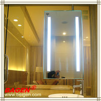 Custom made double bath mirror modern bathroom light mirror,16years supply for hotels