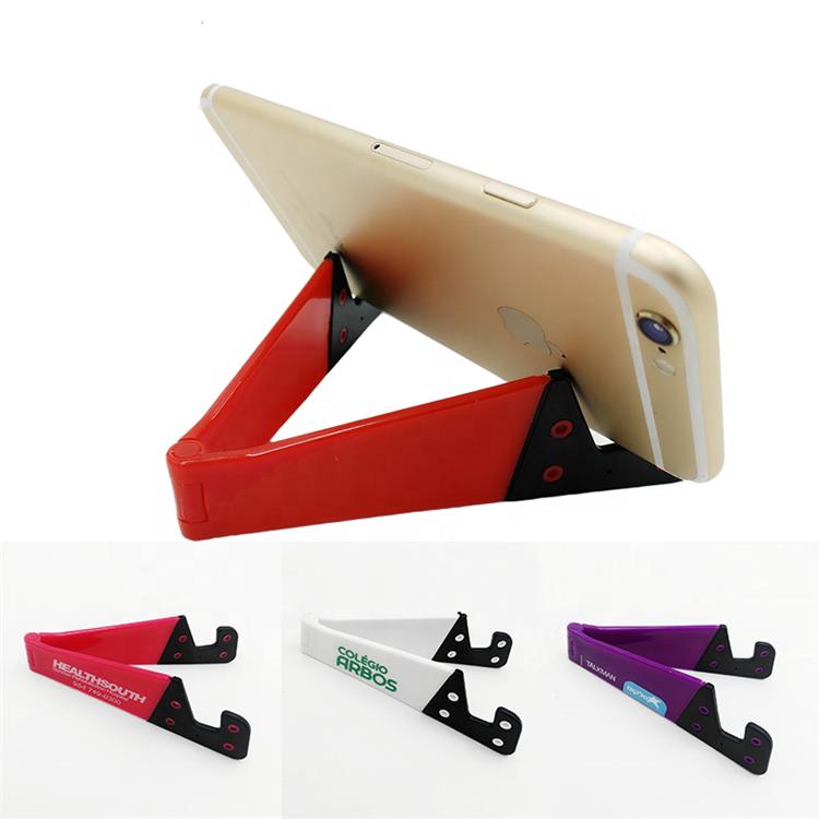 Custom LOGO Printing Universal Hand Free Lazy Foldable Plastic ABS V Shape Mobile Phone Holder V Shaped Phone Stand, 11 options