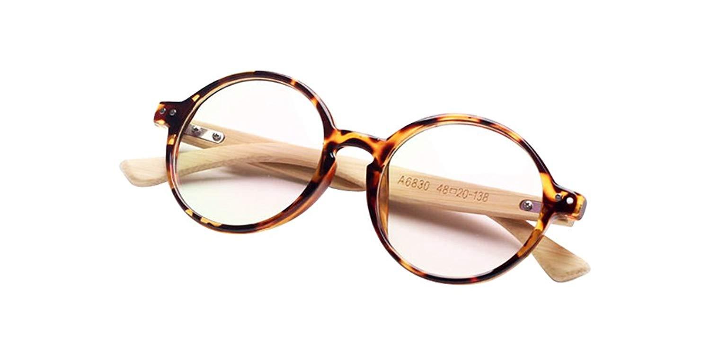 Tortoise Shell Handmade Bamboo Vintage Retro Round Tortoise Eyeglass Frames Spectacles Eyewear
