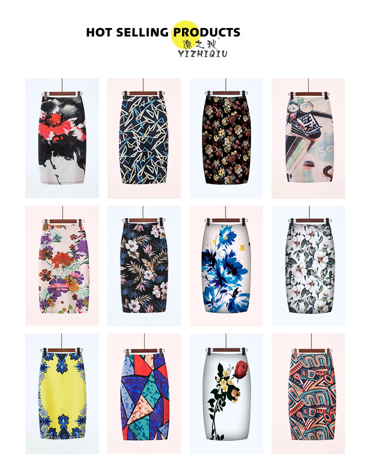 YIZHIQIU Oem Pattern Floral Slim Lady Step Skirts