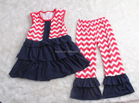 2015 New Baby Girl Ruffles Capris Sets For Cute American Girls 4th July Outfits In Kids Girls Patriotic Fashion Sleeveless Sets