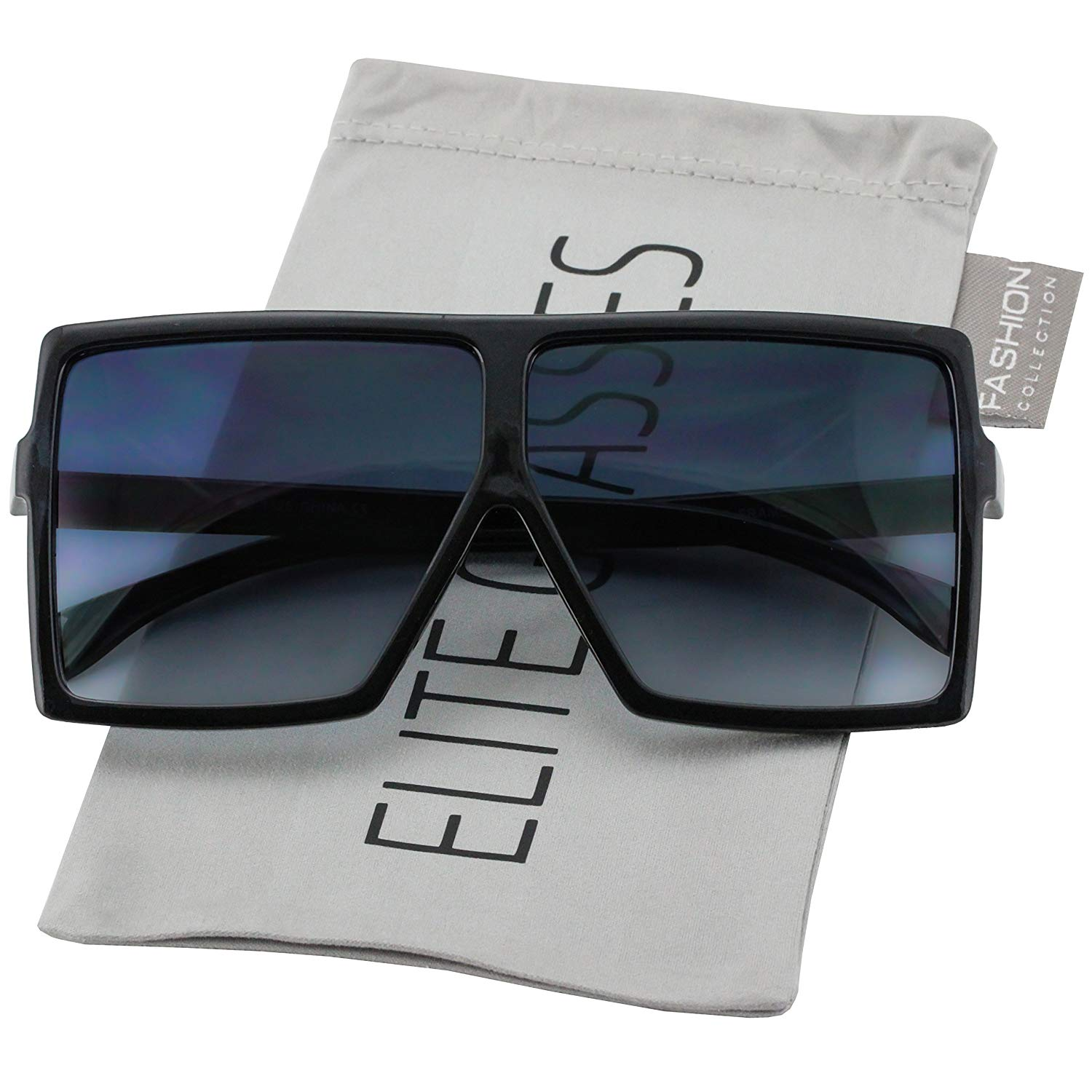 0ac55613b8a9 Get Quotations · Oversized Exaggerated Flat Top Huge SHIELD Square  Sunglasses Colorful Lenses Fashion Sunglasses