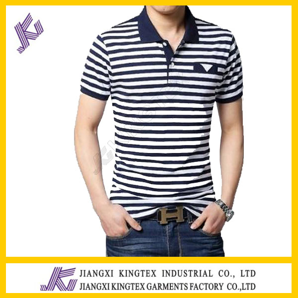 Double Mercerized Cotton Mens Yarn Dyed Polo Shirt