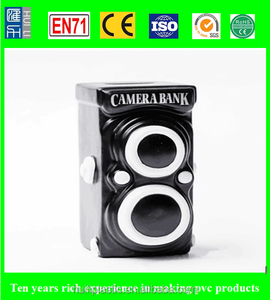 camera shaped pvc money bank, new design plastic money box, oem coin saving bank