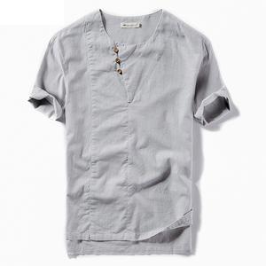 Customized teenager t shirt linen cotton summer cool short sleeve blank t shirts