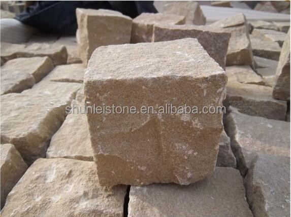 Yellow Sandstone Cubes Paving stone landscaping stone
