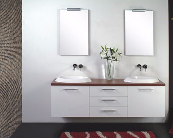 French Style New Fashional Simple Bathroom Furniture White Solid Wood Vanity Mirrored Cabinet Washed