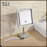 Standing Brass Chrome Finished Bathroom Mirror 3x Magnifying Vanity Mirror With Lights