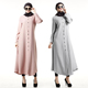 A3256 Women Round Neckline muslin dress Long Sleeve Pink Robe Muslim Abaya with Buttons