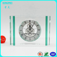 Handmade Unique Exquisite Personalized Square Crystal Desk Clock For New Year Business Gifts Souvenirs