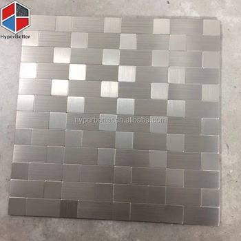 Rectangle mirror silver stainless steel mosaic