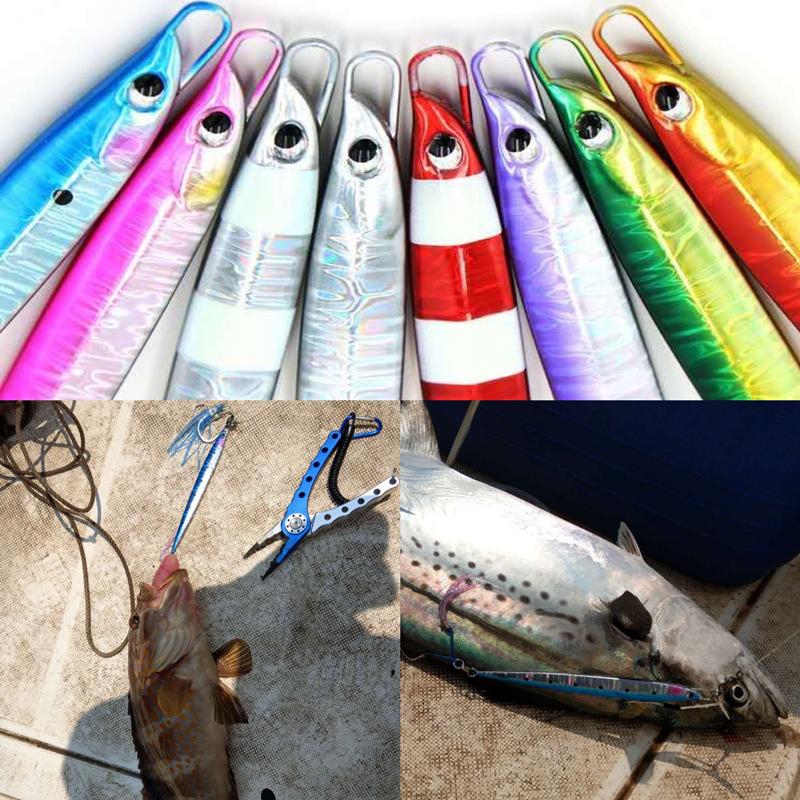 FUNADAIKO 80g 100g 135g lead metal jig saltwater fishing slow pitch jigging luminous fishing lure, Various colors or customized
