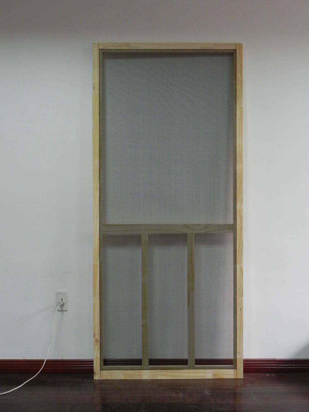 T bar solid pine wood screen door for mosquito repelling for Buy screen door