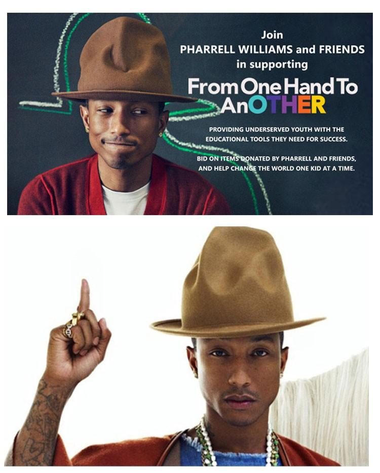 435ab2cfd Wholesale-Pharrell Williams Celebrity Style! felt fedora hat for woman  Fedora hats men hats black top hat
