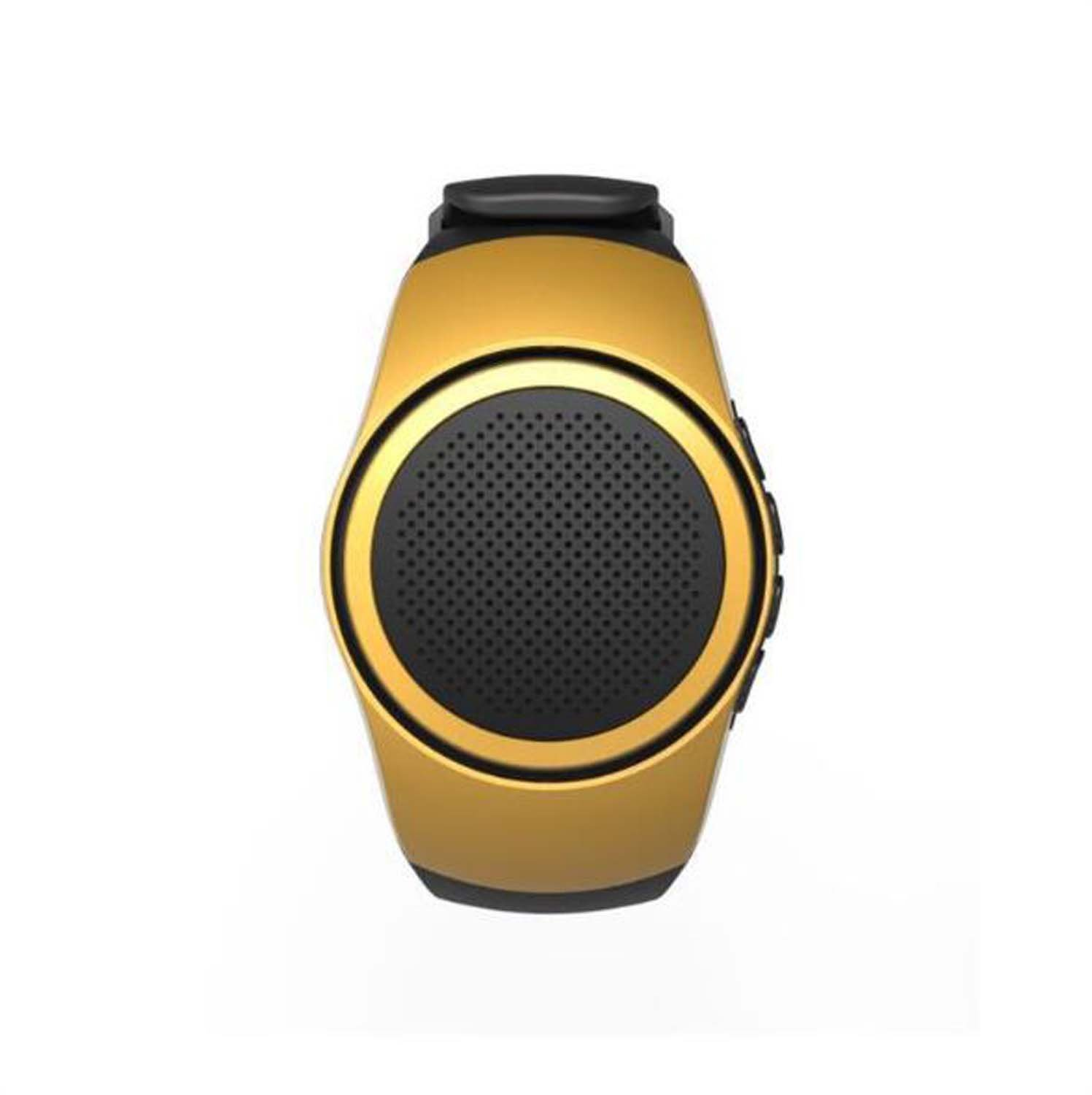 Hzhy Bluetooth Speaker Watch Sports Audio With Radio Can Answer The Phone Card Bluetooth Speaker Gift Outdoor (Color : Local gold)