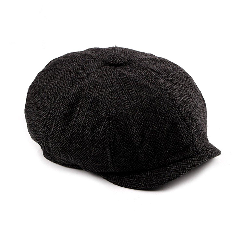 72ce8742637 Get Quotations · WAZZIT Herringbone Plaid Cap Beret Hat Cotton 8 Panel  Newsboy Caps Artist Flat Cap
