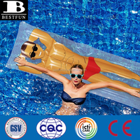 heavy duty thickened vinyl inflatable hunk pool float durable plastic blow up hunk raft water swimming air bed mattress