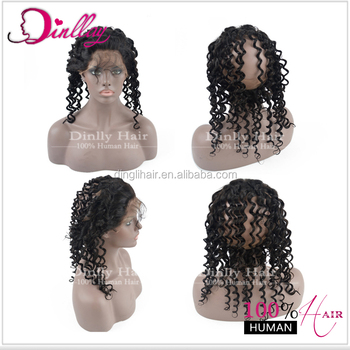 Best selling top quality remy hair curly 360 lace band frontal