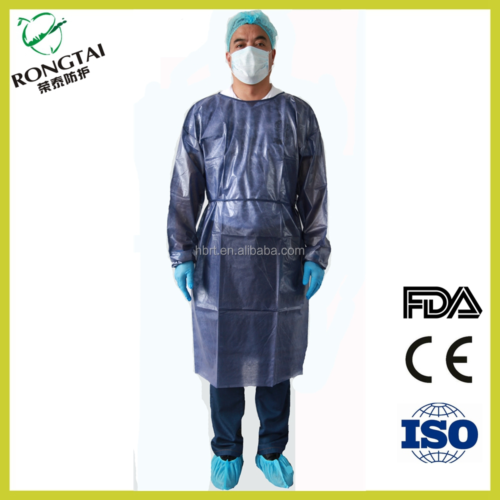 Nonwovens PP+PE protective surgical gown waterproof Resistant to blood surgical gown