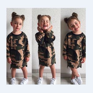 YY10291G Western style camo design kids long sleeve casual dress camouflage dress for girls