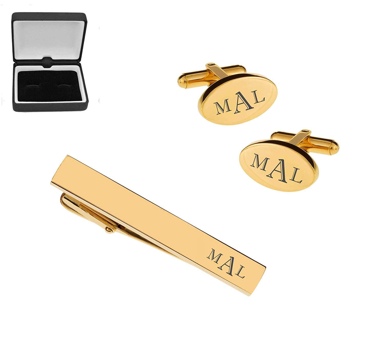 Wonker Chocolate Bar Gole-tone Cufflinks Tie Clip Box Set Engraved Optional