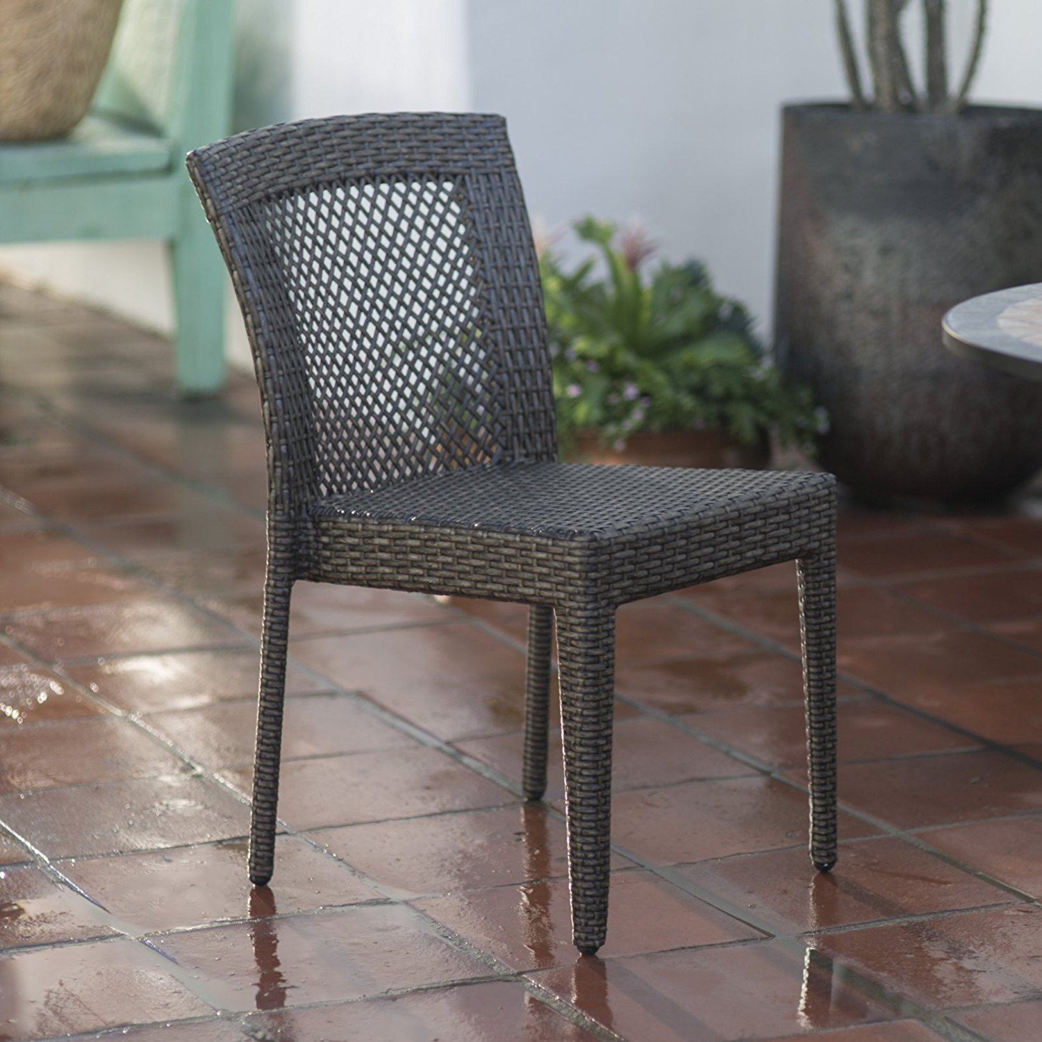 All-Weather Wicker Open Patio Dining Chair, Powder-Coated Aluminum Frame, Durable Resin Wicker in Dark Brown, Convenient Stackable Design, Perfect Addition to Your Patio, Make Yours a Life of Leisure