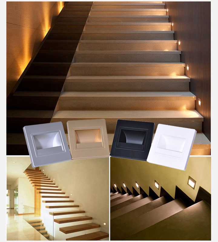 Mini Corridor Foot Lamp Recessed Stair Lighting Led 3w Wall Step Lights Light Product On