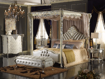 Antique Carved Flower and Leave Designed Leather Canopy Bed Bisini Neoclassical Silver Foil Wooden Canopy & Antique Carved Flower and Leave Designed Leather Canopy Bed ...