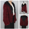 Factory Price Red Color V-Neck Real Raccoon Fur Jakcet Women With Black Collar