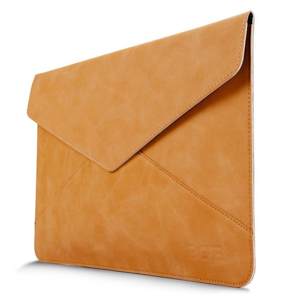 "HIOTECH Envelope Case, Slim PU Leather Waterproof Sleeve Case for 12-13"" iPad Pro/MacBook Air/MacBook Pro/Notebook/Ultrabook/Chromebook (Yellow)"