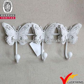 Triple Vlinders Witte Shabby Chic Metalen Decoratieve Muur Haken