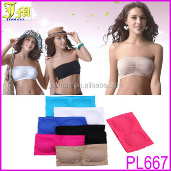 f2d1d1ed24 Hot Sexy Womens Strapless Top Bandeau Padded Bra Boob Tube Removable Pads