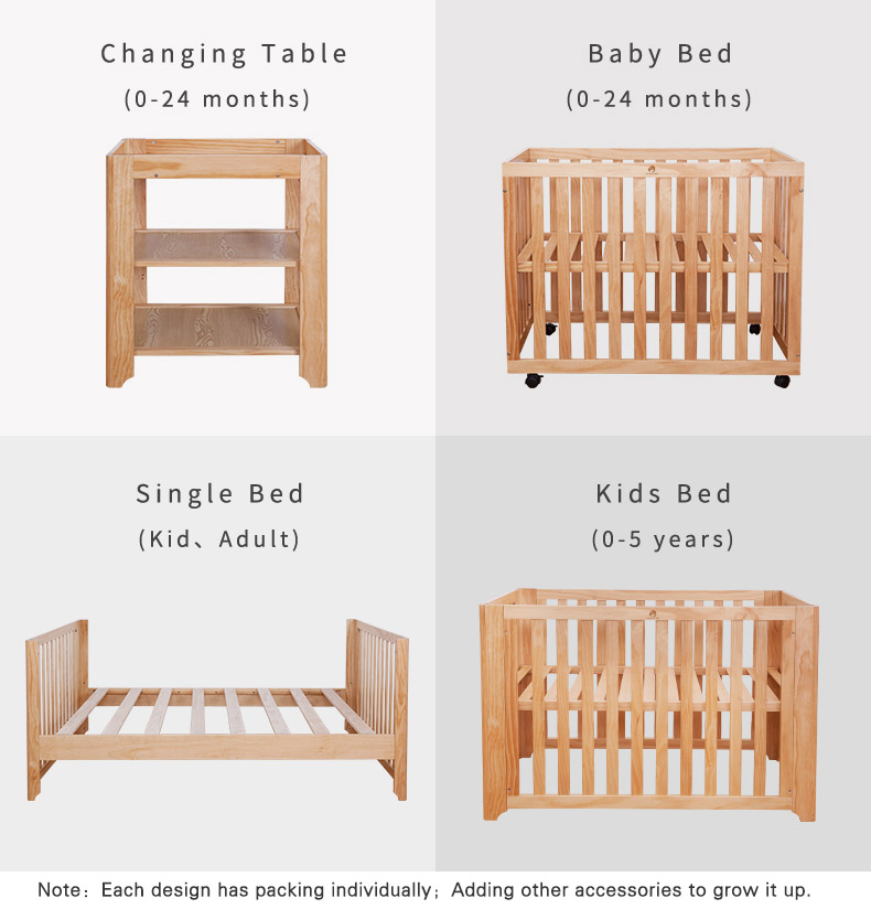 4 IN 1 GROW UP BABY BED Wooden Baby Playpen Bed , Baby Crib with wheels