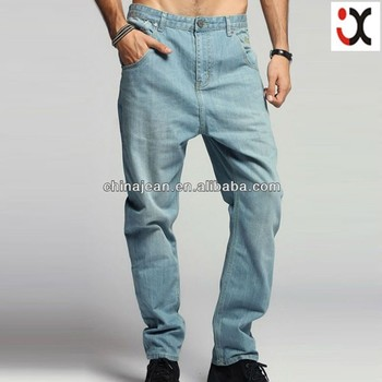 2017 wholesale loose jeans fashion denim jeans for young men no name brand jeans(JXL21946)