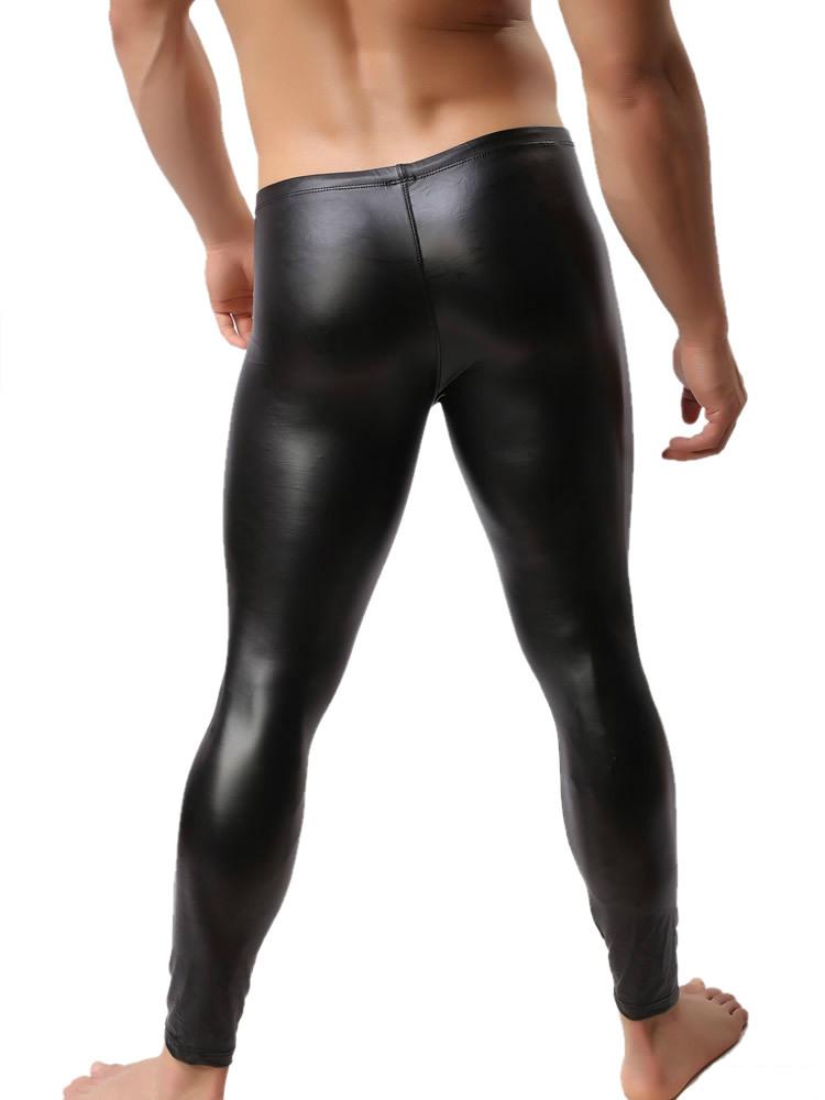0c3ac0f938b 2019 Wholesale Fashion Mens Black Faux Leather Pants Long Trousers ...