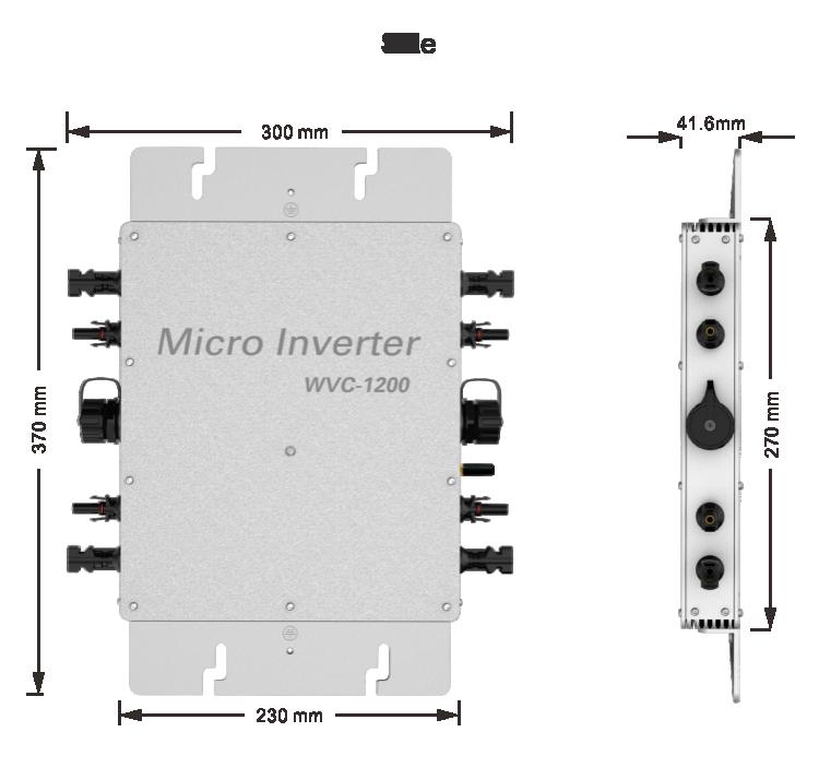 Sans fil WVC-1200W MPPT sinusoïdale pure 1.2 kW Onduleur de communication sans fil