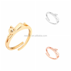 European Fashion Cute Cat Gold Rings Designs For Ladies YU-0353